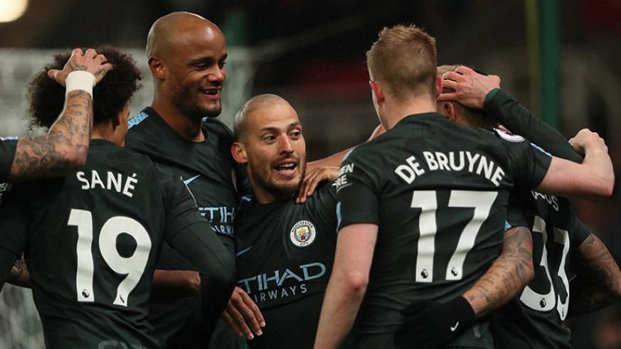 Silva celebrates after breaking the deadlock in Monday evening's Premier League clash at the Bet365 Stadium. Net photo