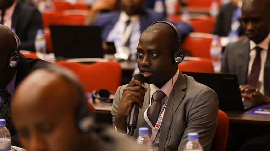A participant asks a question at the on-going African Union of Broadcasting  meeting in Kigali yesterday. (All photos by Timothy Kisambira)