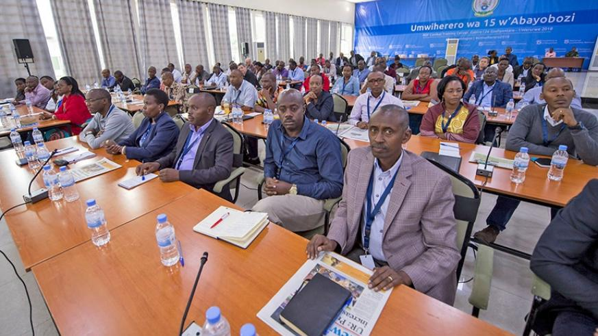 A cross-section of participants at the 15th National Leadership Retreat at the Rwanda Defence Force Combat Training Centre in Gabiro, Gatsibo District. Village Urugwiro.