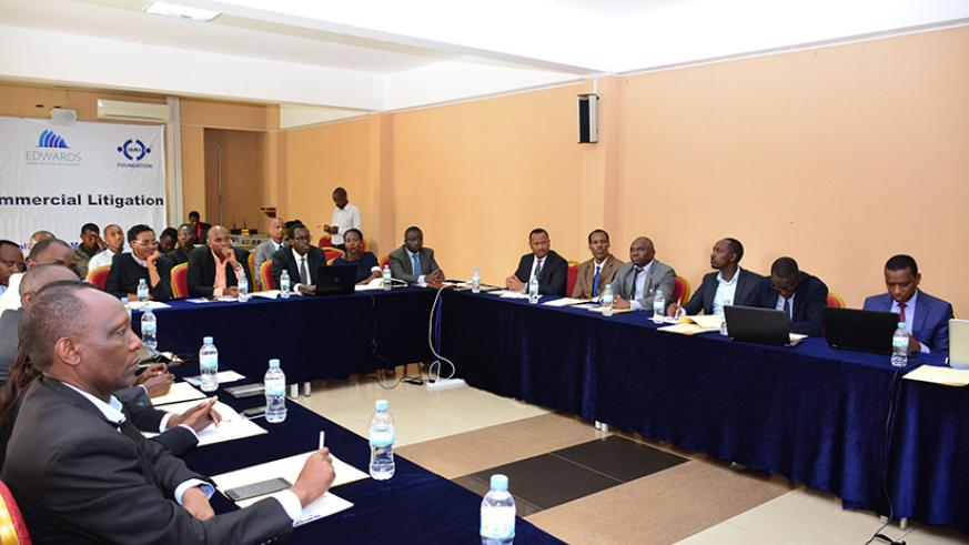 The group of 30 who at the end of this training, the project will support in screening cases that are appropriate for mediation and organizing mediation sessions by judges. Kelly Rwamapera