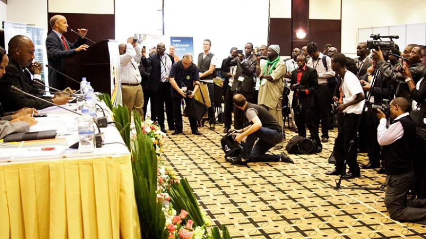 Journalists cover a past event in Kigali. File.