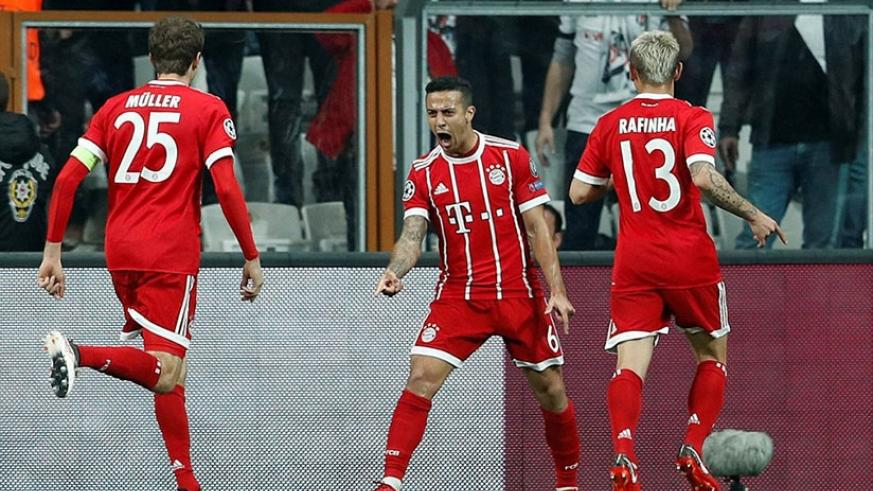 Alcantara celebrates the opening goal, which left Besiktas needing to score at least seven in order to progress