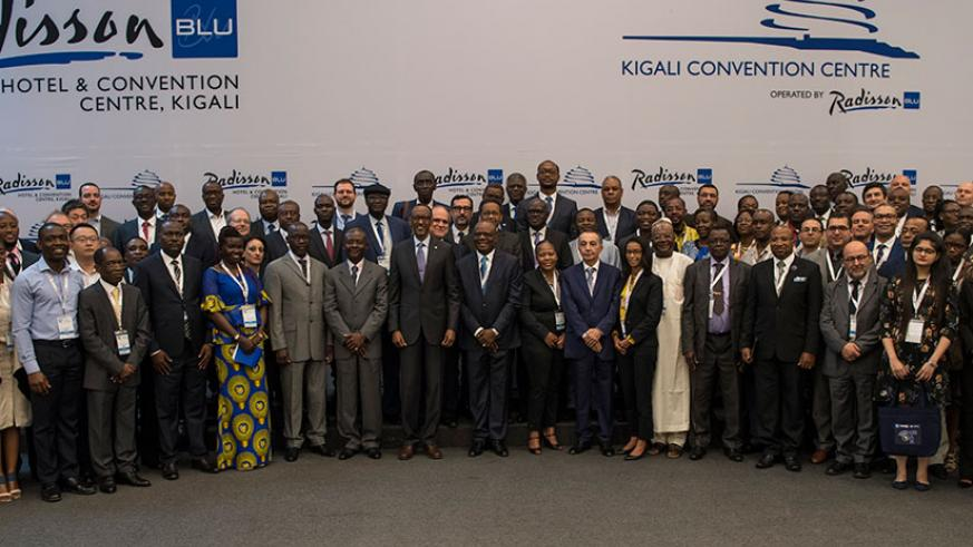 President Kagame in a group photo with members of the African Union of Broadcasting at Kigali Convention Centre yesterday. Village Urugwiro.