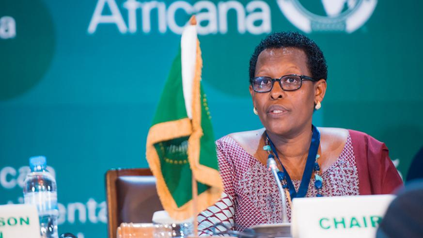 Rwanda's Ambassador to the AU and Ethiopia, Hope Tumukunde, speaks during the Permanent Representatives Committee Extraordinary Summit on the African Continental Free Trade Area at....