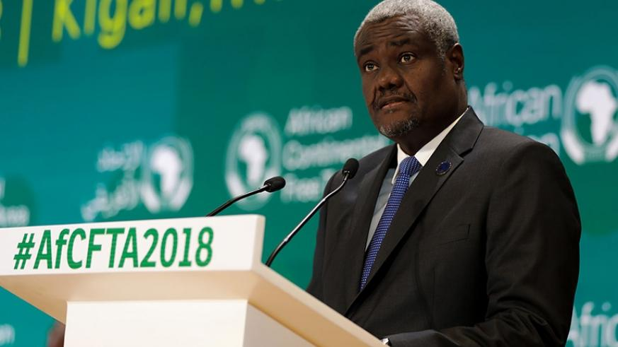 Chairperson of the African Union Commission, Moussa Faki Mahamat, speaks at the meeting of the Executive Council of Ministers of African Union. Timothy Kisambira.