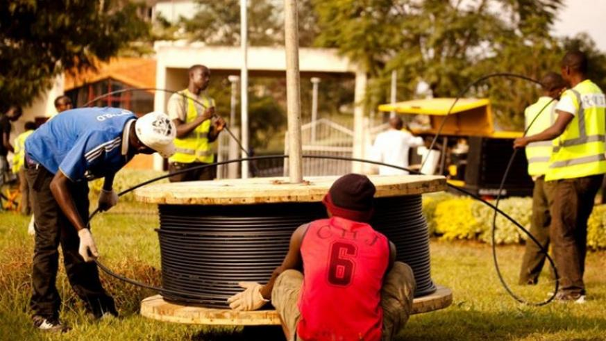 Workers installing cyber optic cables at Kimihurura. (File)