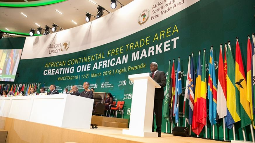 African Union Commission Chairperson Moussa Faki Mahamat delivers his remarks at the Heads of State and Government summit in Kigali yesterday. (Courtesy)