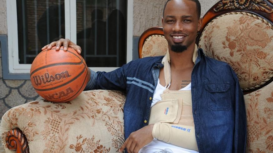 Hakizimana at his home in Nyamirambo. The Patriots' shooting guard is expected to be sidelined for up to three months. Elisee Mpirwa.