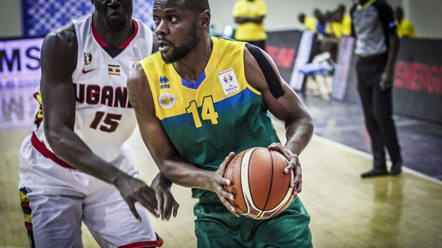 For the last ten years, Kabange, seen here against Uganda, has featured most times for the senior men's national basketball team than any other player. File.