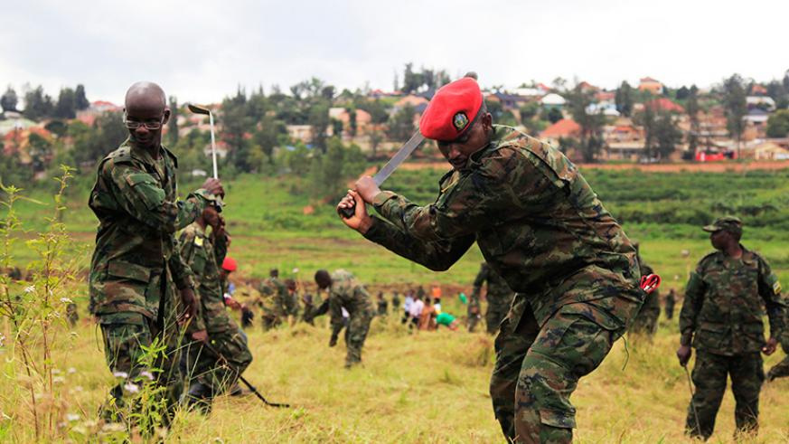 Rwanda Defense Force in action during Army week in 2017 in Kicukiro District last year.