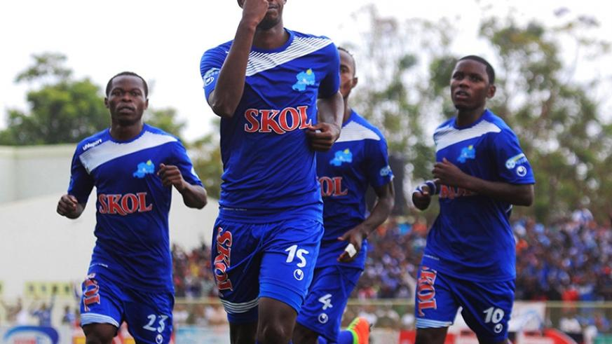 Rayon Sports defender Faustin Usengimana (C) scored the third goal against Sunrise FC in Nyagatare yesterday. Sam Ngendahimana.