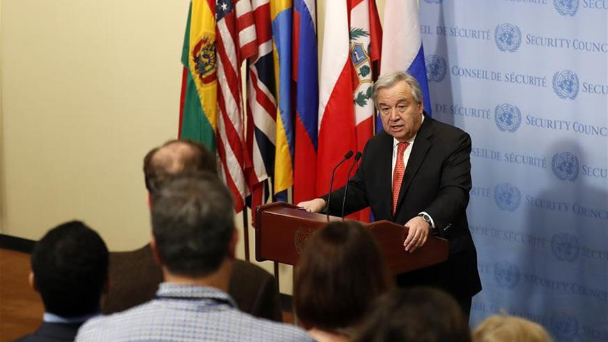 UN Secretary-General Antonio Guterres (Rear) speaks during a press encounter at the UN headquarters in New York, on March 29, 2018. UN Secretary-General Antonio Guterres said here Thursday that more than ever before, climate change is posing a great threat to humanity. (Xinhua/Li Muzi)