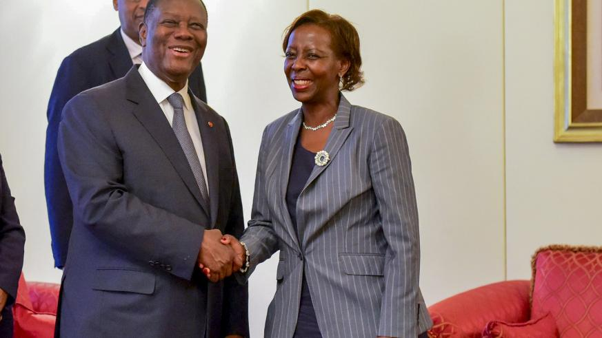 Louise Mushikiwabo in Cote d'Ivoire.