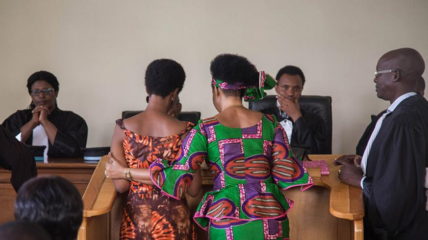 Diane Rwigara and her mother Adeline Rwigara together with their lawyers in the High Court on Thursday. / Nadege Imbabazi