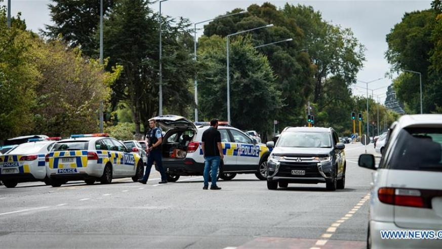 Police are seen at a road block in Christchurch, New Zealand, March 15, 2019. At least 27 people were killed in multiple shootings in the two mosques of New Zealand's Christchurch on Friday afternoon, and police said they have arrested four suspects so far. / Xinhua