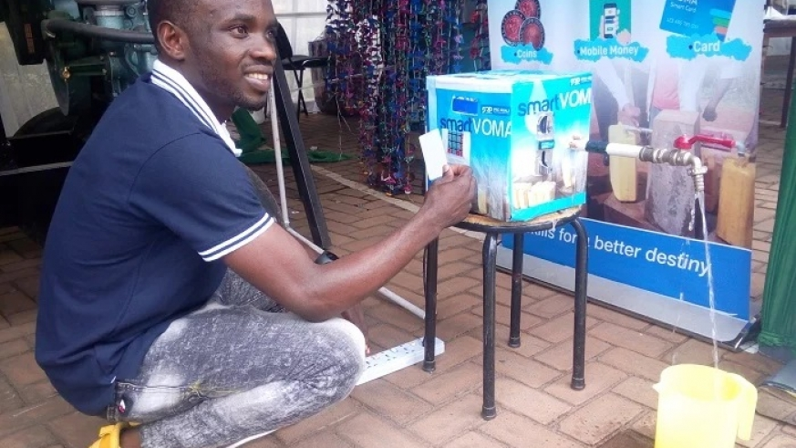 Mugabo has invented a smart water metre that allows for e-payment methods and use of coins. Photo/Emmanuel Come Mugisha.