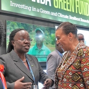 Minister of Environment, Jeanne d'Arc Mujawamariya(2nd left) interacts with other delegates at a recent conference in Kigali. Courtesy.